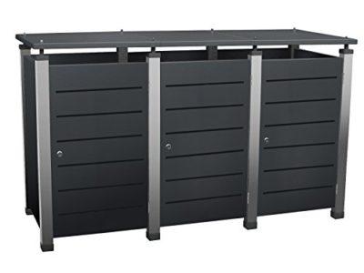 m lltonnenbox aus edelstahl und alu f r 3 tonnen zu je 240 liter m lltonnenbox info. Black Bedroom Furniture Sets. Home Design Ideas