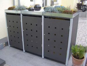 Mülltonnenbox aus Metall - 3Türen - grau