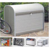Rolladenbox aus Metall für 3 Mülltonnen